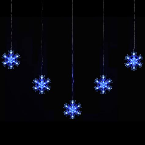 mains lights mains voltage 5 snowflake curtain festive