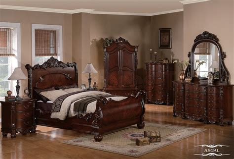 bed bedroom sets sale regal traditional 5 pc cherry sleigh bedroom set