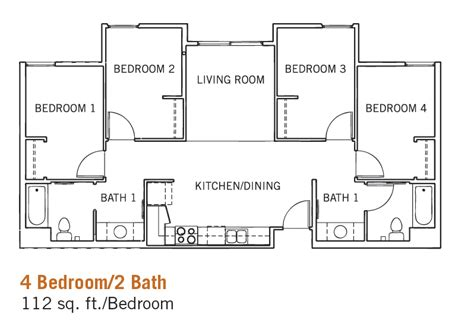 4 bed 2 bath floor plans glen mor