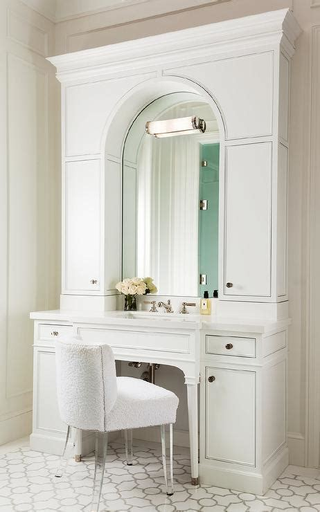 bathroom vanity with chair white bath vanity with arched mirror and white terry cloth