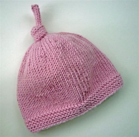 knit newborn baby hats free patterns baby hat with top by julie knitting pattern