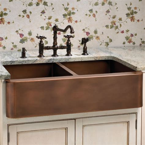 farmhouse copper kitchen sink aberdeen smooth well farmhouse copper sink
