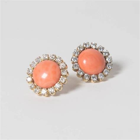 precious coral and precious coral button earrings for sale at 1stdibs