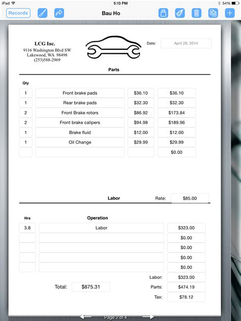 free printable receipts for services auto repair service uses ipad for creating an invoice
