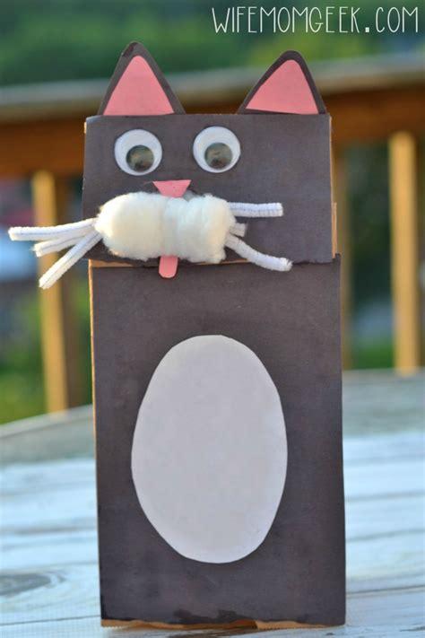 paper bag cat craft cat paper bag puppet kid craft