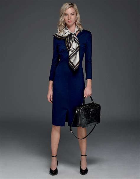 navy blue knitted dress mid season dresses roberto verino