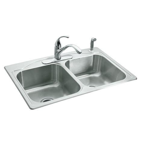 kitchen steel sinks shop kohler cadence 22 in x 33 in basin stainless