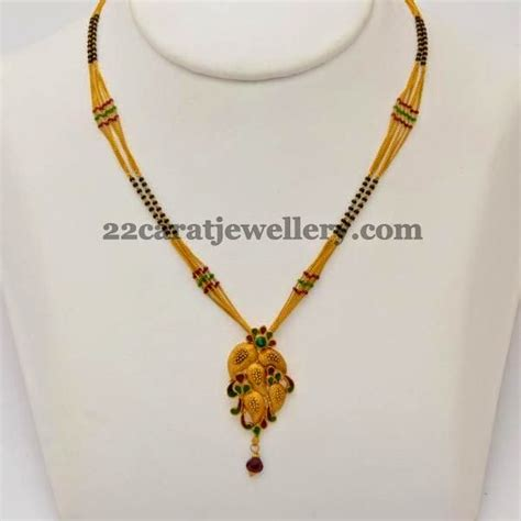 black necklace designs india jewellery designs mangalsutra with leafy pendant black