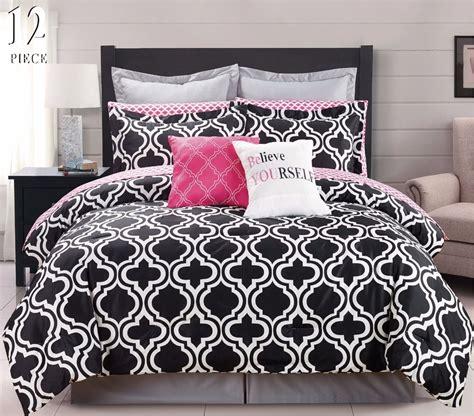 pink and white comforter set 12 pc modern bedding black white pink chic king comforter