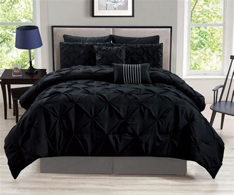 comforter set 8 rochelle pinched pleat black comforter set