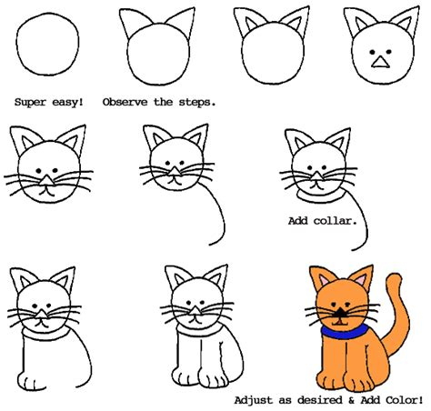 cat step by step how to draw a cat dr