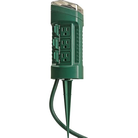 outdoor light timer woods 13547 6 outlet outdoor power stake w mechanical