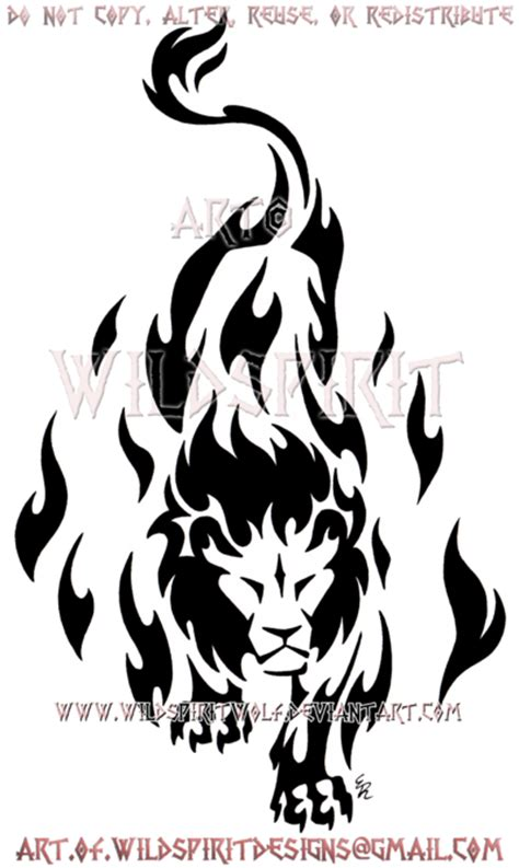prowling flame lion tribal design by wildspiritwolf on
