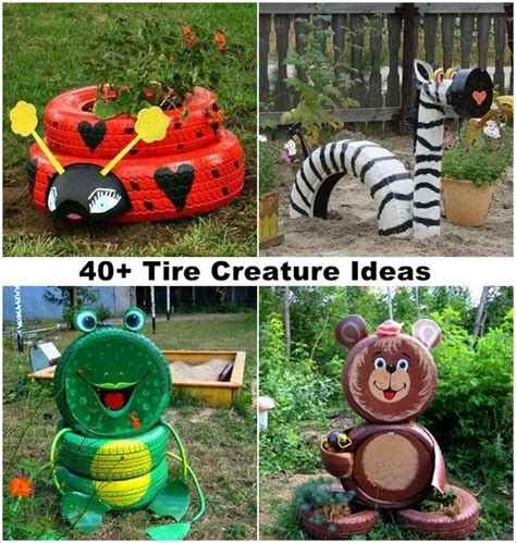 garden craft ideas for 40 ideas to craft recycled tire creatures for your garden