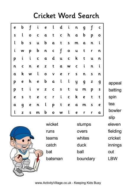 word finder cricket word search