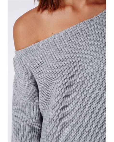 shoulder sweater knitting pattern missguided shoulder knitted sweater dress grey in gray