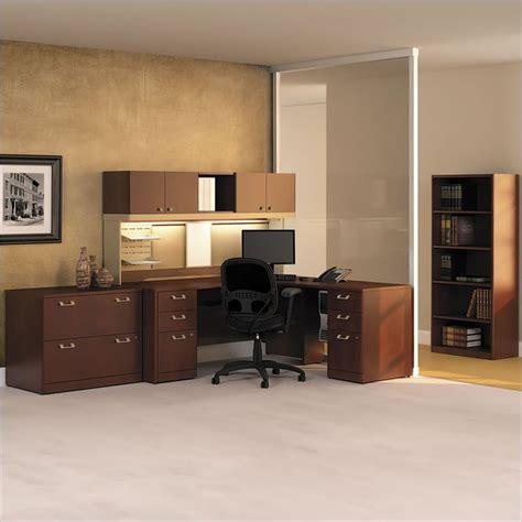 corner desk set bush quantum wood corner desk set with hutch in harvest