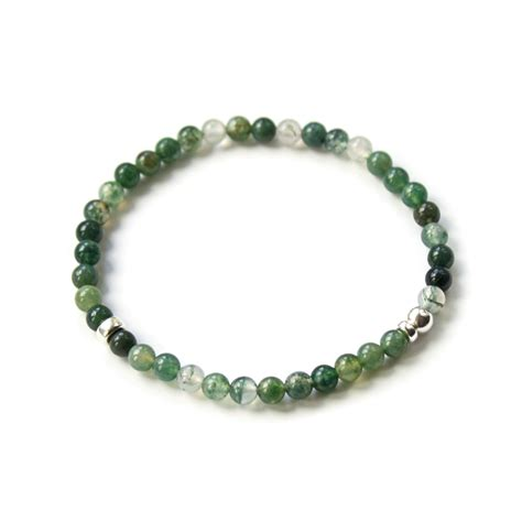 silver beaded bracelet green moss agate and sterling silver beaded bracelet