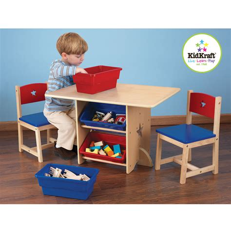 kid craft furniture kidkraft table chair set with primary bins