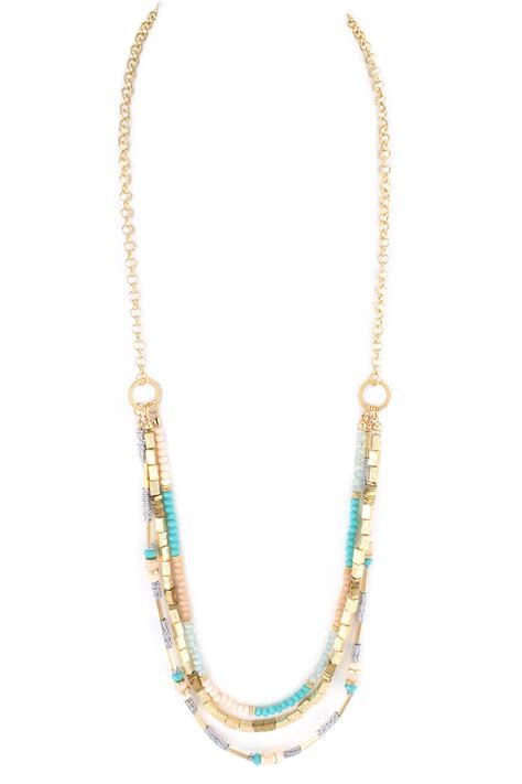 bead chain glass and metal bead chain link layered necklace necklaces