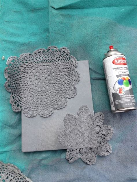 spray paint on canvas tutorial 7 spray painted doily canvas shey b