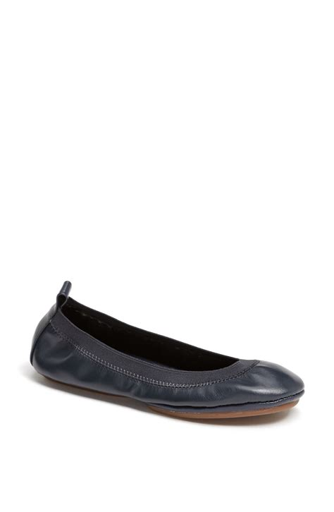 foldable leather ballet flats yosi samra foldable ballet flat in blue navy leather lyst