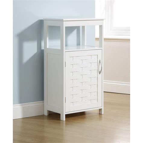 White Bathroom Floor Storage Cabinet by White Bathroom Floor Cupboard 1 Door Cabinet Open Shelf