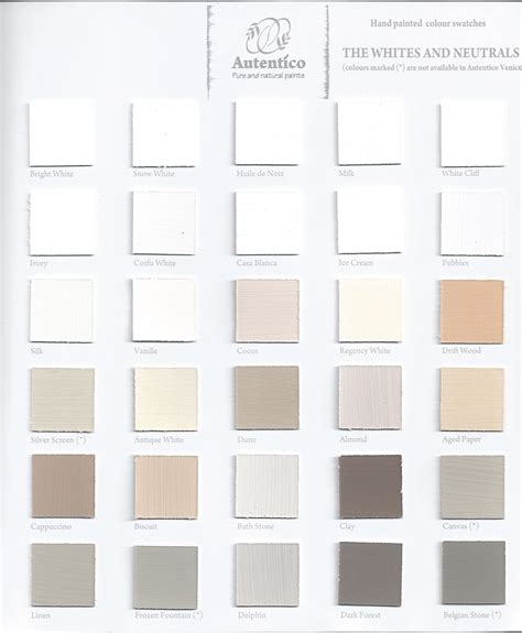 autentico chalk paint stockist glasgow autentico vintage colour chart the whites and neutrals
