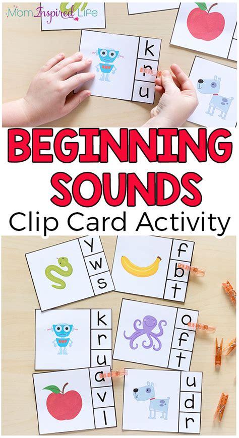 beginning card alphabet beginning sounds clip cards