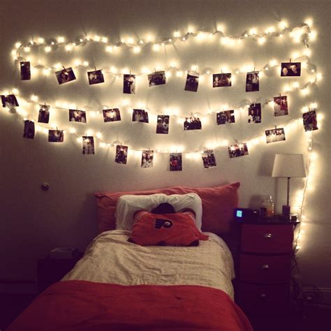 lights room decoration hang lights and pictures with clothes pins this