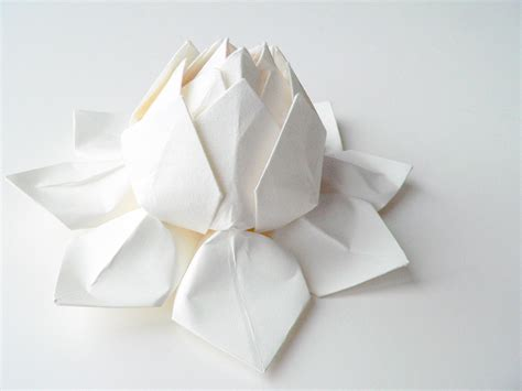 Handmade Paper Flower Origami Lotus Flower All White