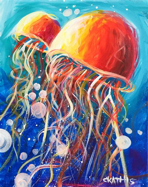 acrylic paint jellyfish summer cs