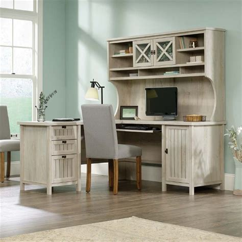 l shaped computer desk with hutch sauder costa l shaped computer desk with hutch in chalked