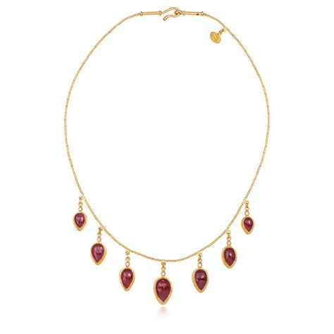 ruby gold necklace ara 24k yellow gold ruby station necklace with