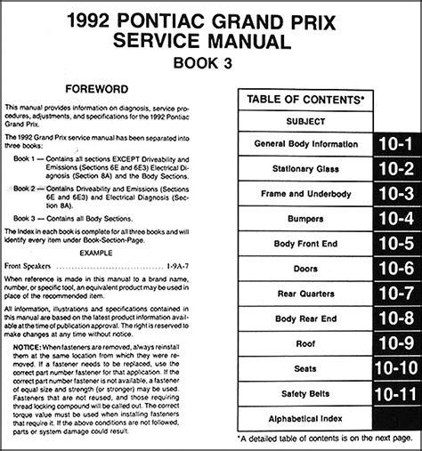 how to download repair manuals 1994 pontiac grand prix head up display 1992 pontiac grand prix repair shop manual 3 volume set 92 original service oem ebay