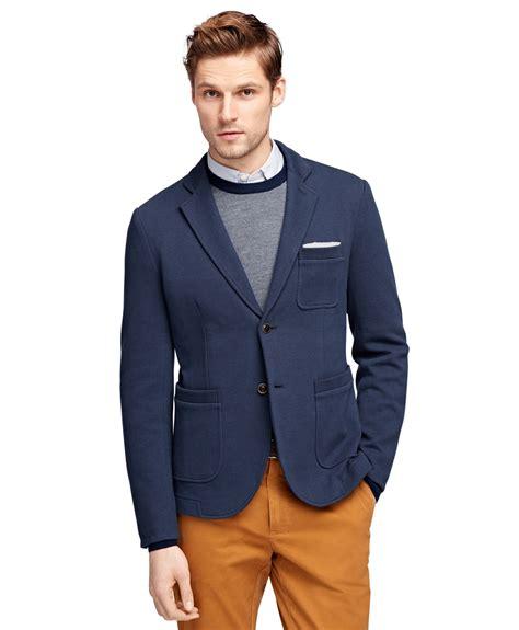 knit blazer mens brothers knit blazer in blue for navy lyst