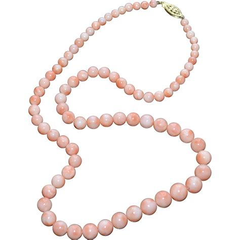 pink coral bead necklace pink salmon coral bead necklace w sterling silver