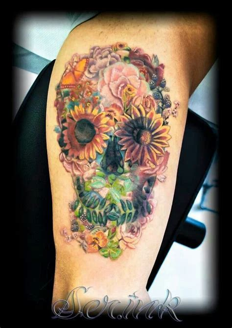 flowers skull tattoo tattoos pinterest
