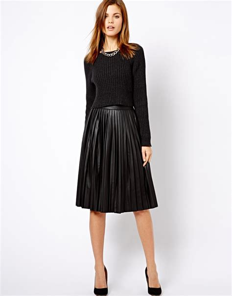 leather pleated skirt asos warehouse leather look pleated midi skirt in black lyst
