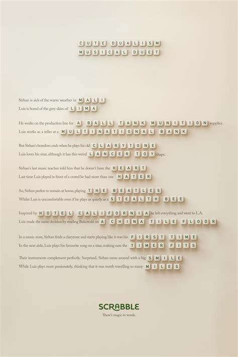 scrabble anagram scrabble quot anagram duet quot print ad by lola madrid