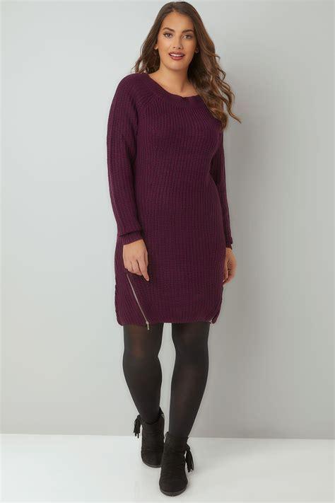 knit tunic dress purple chunky knit tunic dress with zip hem plus size 16