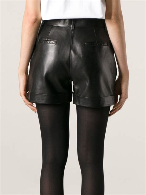 leather shorts laurent leather shorts in black lyst