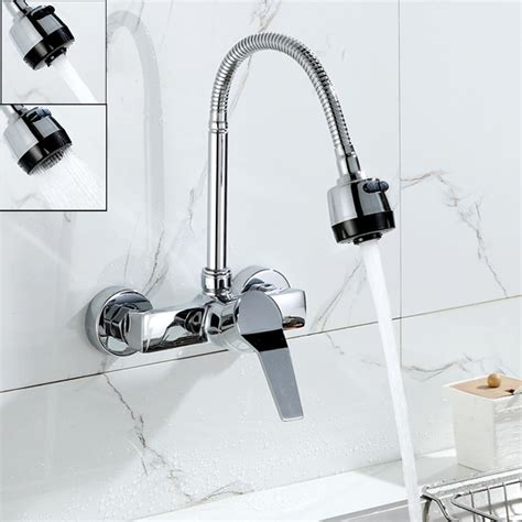 wall mounted kitchen faucet with sprayer wall mounted dual sprayer kitchen faucet single handle