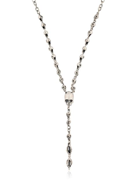 black jewellery small chains jade jagger small skull rosary necklace in metallic for