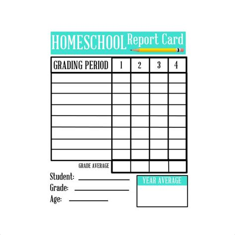 how to make a report card homeschool report card template 6 documents in