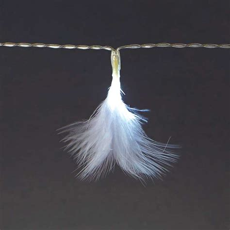 white feather string lights battery operated white