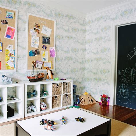 pin boards for rooms playroom with ikea kallax shelving unit and burlap pin