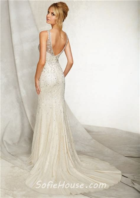 wedding dress beaded back slim sheath bateau illusion neckline open back tulle