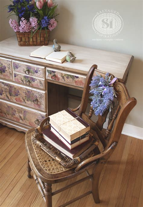 decoupage a desk how to decoupage with napkins salvaged inspirations