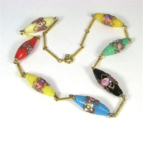 vintage glass bead necklace vintage murano wedding cake glass bead necklace from